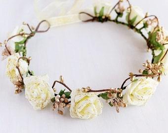 Cream Rose Headband, Boho Bridal Halo, Woodland Halo, Festival Crown, Cream Rustic Crown, Flower Girl Wreath, Girls Crown, Cream Rose Crown