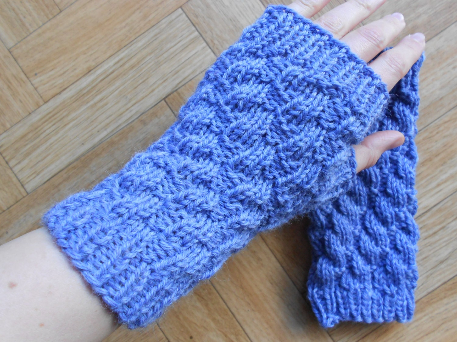 Fingerless Gloves Knitting Pattern Beginner : Easy textured fingerless gloves knitting by CuteCreationsByLea