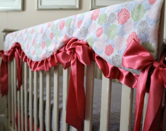 Romance Rose Bloom White Reversible Rail Guard Cover with Coral Satin Ties - Crib Bedding, Changing Pad, Crib Sheet, Minky, Bumperless