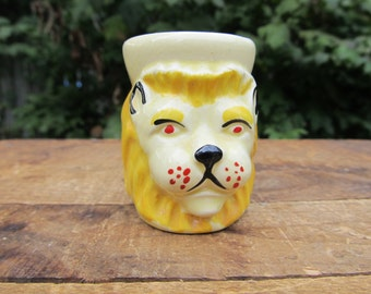 Vintage Ceramic Lion Toothpick Holder - Lion Head Toothpick Holder