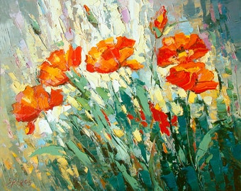"""Poppies - Palette Knife Oil Painting on canvas by Dmitry Spiros. Size: 24""""x32"""" (60 x 80 cm)"""