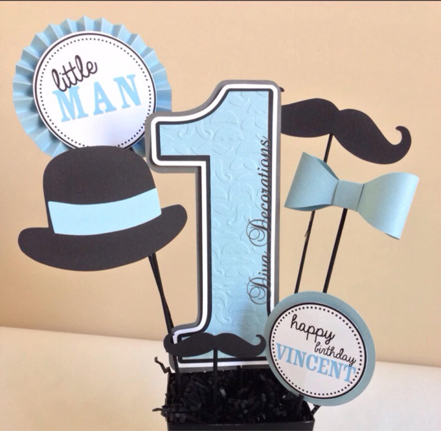 Little man mustache birthday party centerpiece cutouts only for Baby shower decoration cutouts