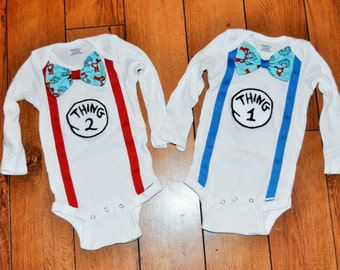 Thing 1 Thing 2 matching shirts with bowties Dr Seuss, Twins cake smash, twins birthday outfit,  twins Dr Seuss cake smash, first birthday