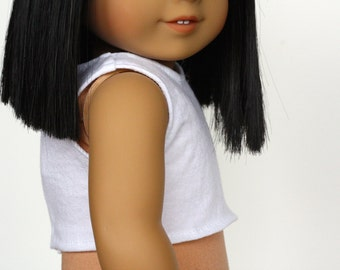 White CROP TANK TOP for 18 Inch Doll such as American Girl Doll