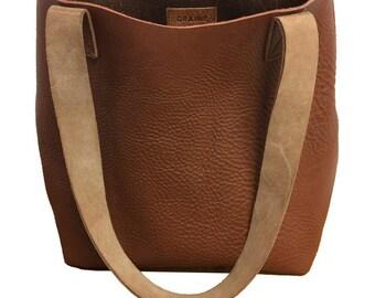 small leather tote bag, brown leather bag, leather bag, handbag