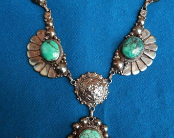 Vintage Sterling silver tribal Turquoise Necklace 925 antique