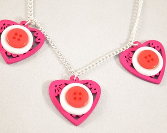 Mixed Media Jewelry - Button and Wood - Button Necklace - Button Jewelery - Pink Buttons - Lace Jewelry - Statement Necklace - Pink Necklace