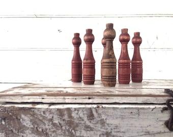 Vintage Wood Bowling Skittles Pins