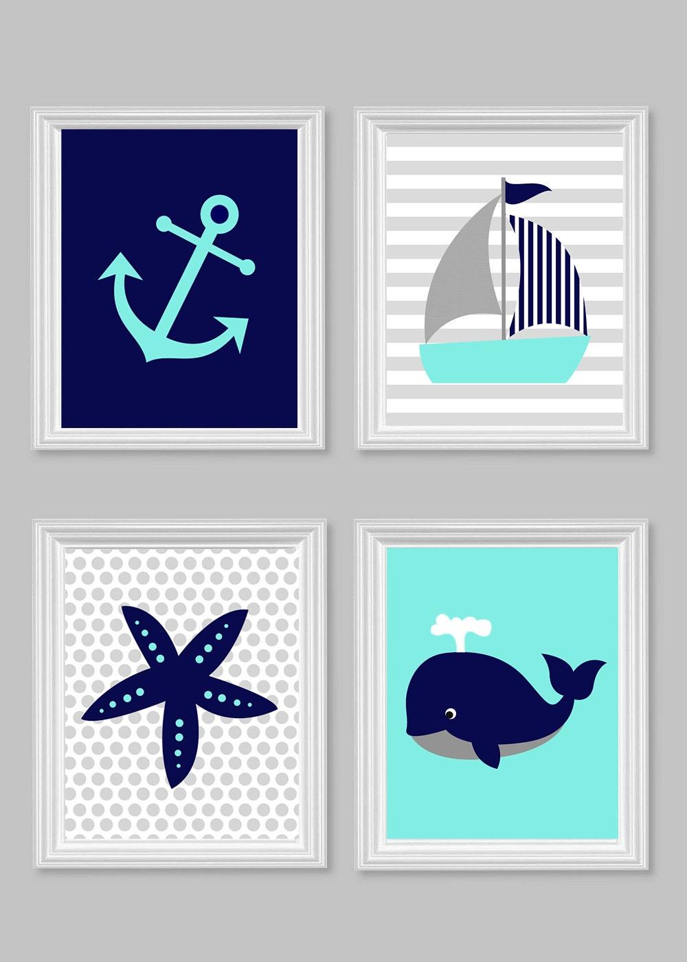 nautical nursery decor children aqua gray by sweetpeanurseryart. Black Bedroom Furniture Sets. Home Design Ideas