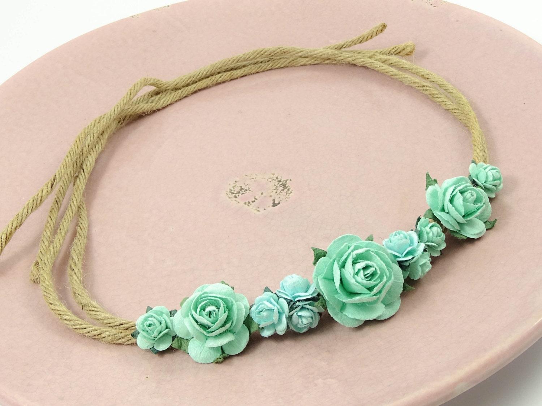 Pastel Mint Flowercrown Flower Headband Floral Crown Hippie Ibiza