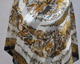 Vintage SILK SCARF , printed silk scarf...(639)