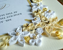 Vintage Style Custom Wedding Gift / Quilled & Framed Wedding Invitation / Paper Quilled Art / WEDDING