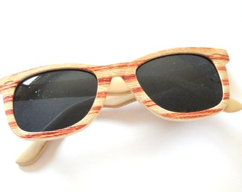 Retro Sunglasses- Wood Grain/ Faux Bois Korean Sunglasses- Vintage Plastic Sunglasses- Retro Eyewear- 80s Sunglasses- Brown Cream Sunglasses