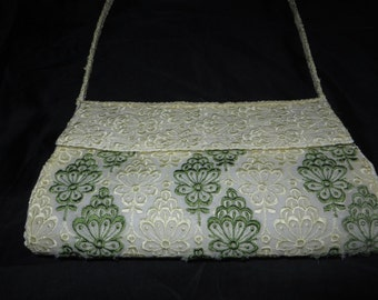 White & Forest Green Handmade Purse