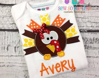 Turkey Baby Outfit - Baby Thanksgiving Outfit - Ribbon Turkey Shirt - Fall baby bodysuit