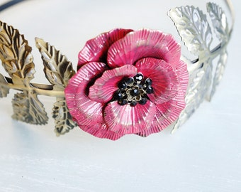 50% OFF Headband, Red and Black handpainted rose red poppy flower floral hair accessory 2