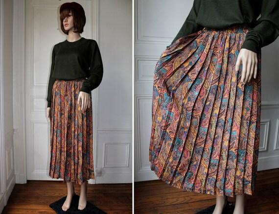 paisley pleated skirt high waist 70s 80s indian pattern
