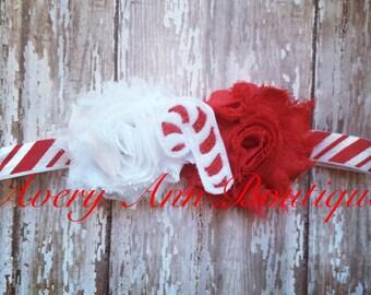 Christmas Baby Headband, Holiday Baby Headband, Candy Cane Baby Headband