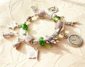 Neverland Charm Bracelet, European Charm Bracelet,  in Lavender and Green - 449