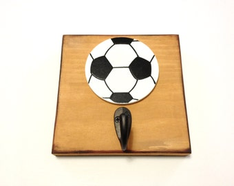 Boys Black and White Soccer Ball Single Wall Hook Soccer Wood Wall Sign Sports Room Decor