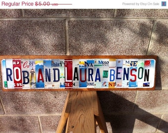 ON SALE Custom Made To Order License Plate Sign Using Recycled License Plates Letters and Numbers