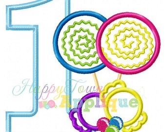 Candy Birthday Number 1 Machine Embroidery Design
