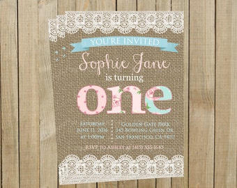 Burlap Shabby Chic Birthday Invitation, Pink and Blue, Printable, Custom Digital File