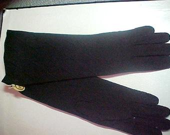 """1950 vintage black long gloves, 12 3/4"""", Size 6 1/2, never worn."""