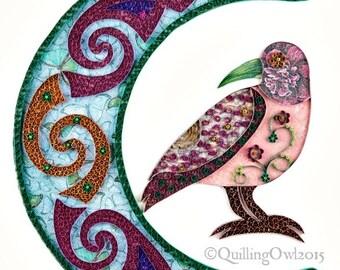 Morrigan, Original Paper Quilling Wall Art - Paper Illustration of a Crow and Moon - Fine Paper Art, Quilling Art , OOAK piece