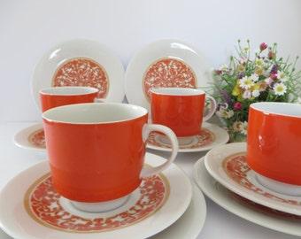 Royal Doulton vintage 1970's tea trio, Seville pattern, Orange Teacup set,Orange teacup, Seville china, Afternoon tea