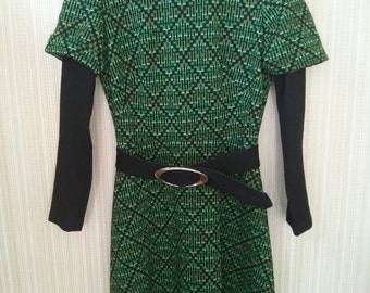 "Vintage Geometric Green 70""s dress style"