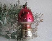 Soviet Christmas tree decoration, Mushroom Christmas Glass Ornament - Made in USSR