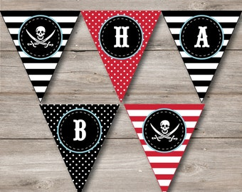 Pirate Party Pennant with Editable Text, Pirate Banner with Changeable Text, Pirate Birthday Pennant, DIY Printable Pirate Birthday Banner