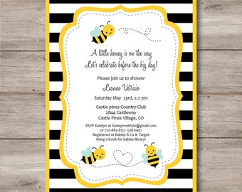 Bumble Bee Invitation with Editable Text to Print at Home, DIY Bee Birthday Invite, DIY Bee Baby Shower Invite, Instant Download!