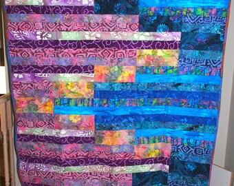 Blue and Purple Batik Large Throw Quilt