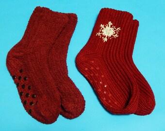 2 Maroon Womens Large (9-10 Shoe Size) Knitted + Micro Fleece Bootie Socks