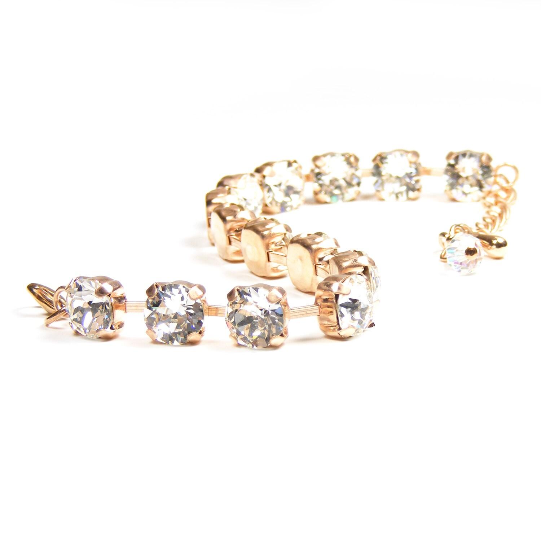 Rose Gold Swarovski Tennis Bracelet, Swarovski Crystal Bracelet, Crystal Bridal Jewelry