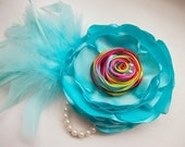Rainbow Dash Couture Feather Hair Clip- Sky Blue Satin Flower Pearls Rosette- Birthday Girl My Little Pony