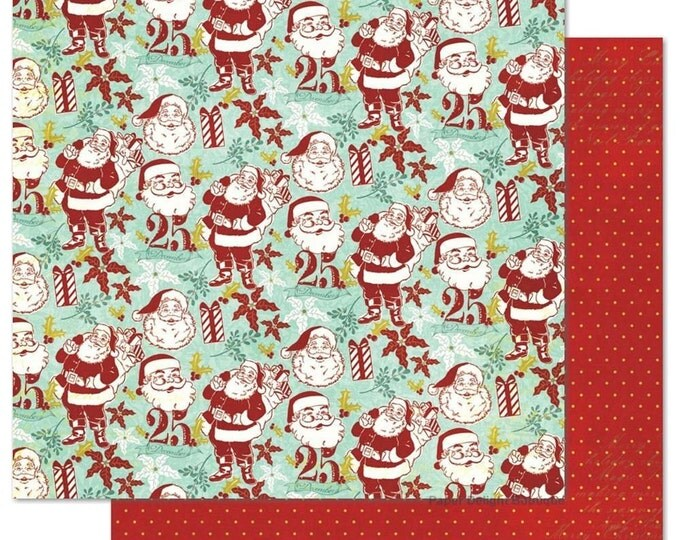 2 Sheets of My Mind's Eye MISTLETOE MAGIC 12x12 Christmas Scrapbook Paper - Santas