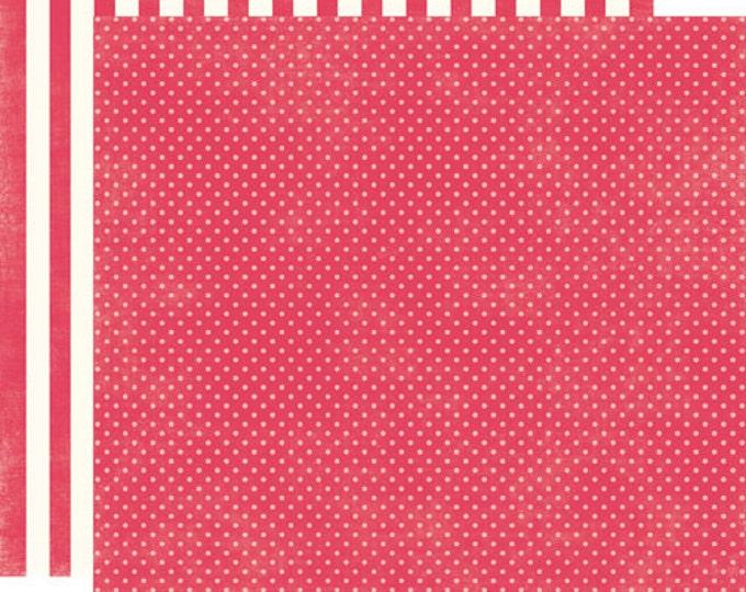 2 Sheets of Echo Park Paper DOTS & STRIPES Soda Fountain 12x12 Scrapbook Paper - Strawberry Tiny Dots