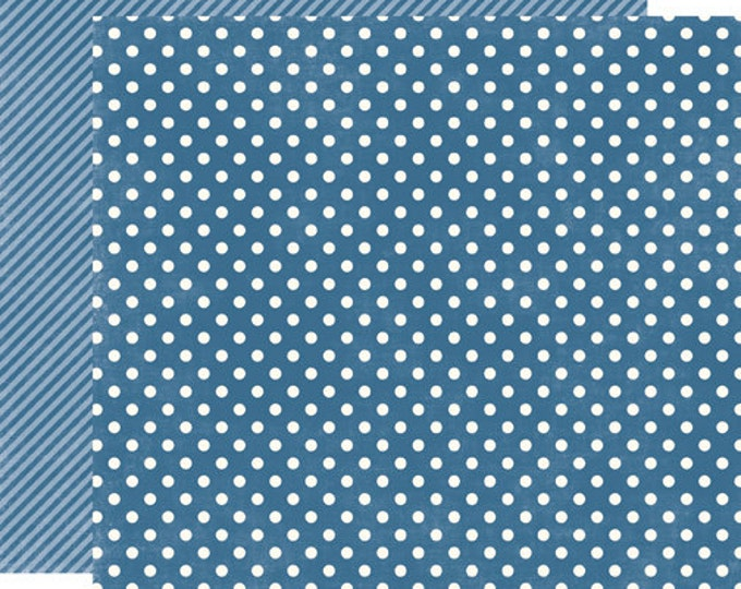 1 Sheet of Echo Park Paper DOTS & STRIPES Homefront 12x12 Scrapbook Paper - Blueberry Small Dots