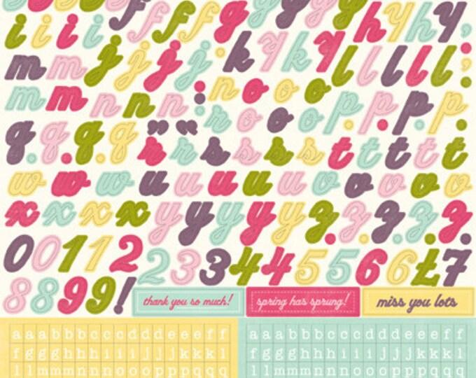 1 Sheet of Echo Park Paper SPRINGTIME 12x12 Scrabook Alpha Alphabet Stickers