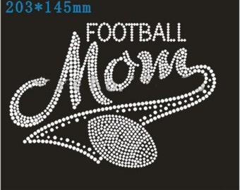 Football Mom Rhinestone Transfer - Hotfix Iron On Football Mom Rhinestone