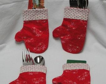 Snowman Mitten Silverware Holder/ Gift Card Holder/ Ornament/ Christmas/ Utensil Holder/ Flatware Holder/ Silverware Pocket/ Table Decor