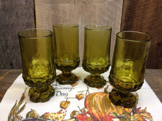 Vintage green footed drinking glasses