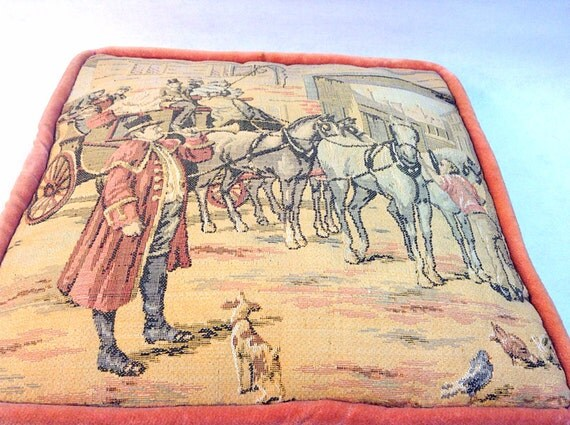 Victorian Tapestry Pillows : Antique Victorian Tapestry Pillow with Carriage Scene by HUEisit