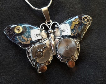 Steampunk Butterfly Necklace, With Vintage Mechanical Watch Parts and Decoupage, Sterling Silver Chain