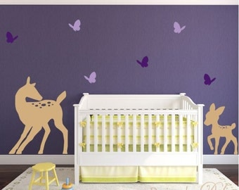 Nursery Wall Decal, Forest Animals, Mommy and Baby Deer Wall Decal