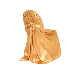 Gold Satin Universal Chair Cover   Wedding Chair Covers