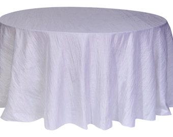 YCC Linen - 132 inch White Crinkle Taffeta Round Tablecloth | Wedding Tablecloth